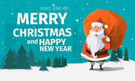 Stylish modern flat vector Merry Christmas card with greeting Stock Images