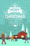 Stylish modern flat vintage Christmas card. With house, apartment unites, snowflakes, peoples, walking people Stock Image