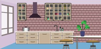 Stylish and modern kitchen design stock illustration