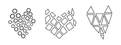 Stylish, modern, linear set of black and white hearts. Graphics, love and logic. stock illustration