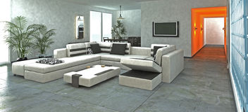 Stylish modern living room Royalty Free Stock Photos