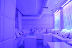 Stylish modern lounge. Details of stylish modern lounge with cold blue tone Royalty Free Stock Photography