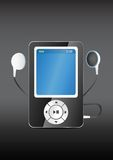 Stylish modern MP3 player with earphones Royalty Free Stock Image