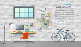 Stylish and modern office workplace. Room interior with desk, chair, monitor, bicycle.  Brick background. Detailed vector Stock Images