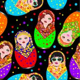 Stylish modern pattern of Russian national dolls in scarves vector illustration