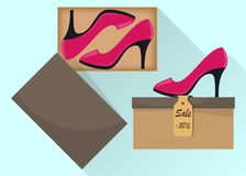 Stylish modern woman s high heel shoes in box, side view. The price tag with a discount of 50 percent. Illustration for a shoe sto. Re. Vector flat illustration vector illustration