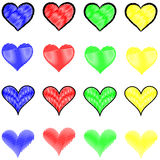 Stylish Multicolored Heart Patterns. Abstract Depiction of a series of hearts in different colors and styles Royalty Free Stock Image