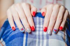 Stylish multicolored manicure Royalty Free Stock Images