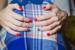 Stylish multicolored manicure Stock Images