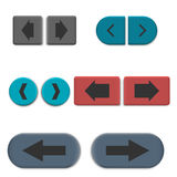 Stylish multicolored web buttons with 3D effect, vector illustration. Stylish multicolored 3D web buttons with arrows, isolated on white background. Design Stock Photos