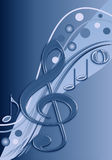 Stylish musical design in blue tones. Stylish design / background in blue tones with musical notes Stock Photography