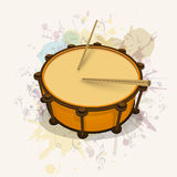 Stylish musical instrument drum with stick. Stock Photo