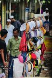 Stylish muslim topi in display around a street sales point unique photo. Beautiful and colourful muslim topi displaying for the sales around a street in royalty free stock image