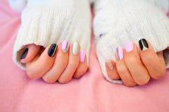Stylish Nails, Nailpolish. Nail art design for the fashion style. Royalty Free Stock Image