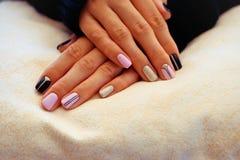 Stylish Nails, Nailpolish. Nail art design for the fashion style. Stock Photo