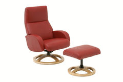 Red armchair with leg rest. Stock Photos