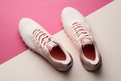 Women shoes on color background stock photos