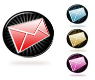 Stylish newsletter icons. Stylish icon/button design with email letter/newsletter isolated on white Royalty Free Stock Images