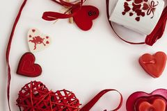 Stylish objects of love for valentines day celebration for a cou. Ple, greeting card concept Royalty Free Stock Image