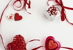Stylish objects of love for valentines day celebration for a cou. Ple, greeting card concept Royalty Free Stock Photography