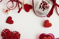 Stylish objects of love for valentines day celebration for a cou. Ple, greeting card concept Royalty Free Stock Photos