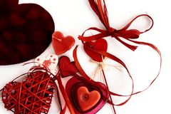 Stylish objects of love for valentines day celebration for a cou. Ple, greeting card concept Royalty Free Stock Images