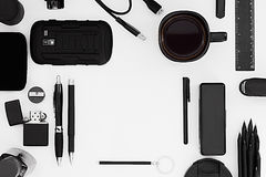 Stylish office workplace in black on a white background. Royalty Free Stock Photography