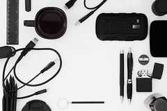Stylish office workplace in black on a white background. Stock Images
