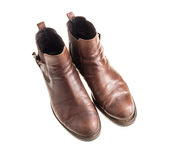 Stylish old chelsea leather boots. Stock Photos