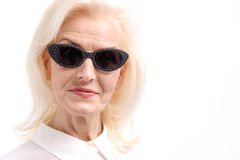 Stylish old woman wearing spectacles Stock Photos