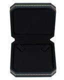 Stylish opened dark blue and gold leather case Stock Image