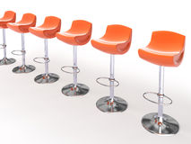 Stylish orange cafeteria chairs Stock Photos