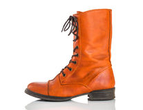 Stylish orange leather boot Stock Photos