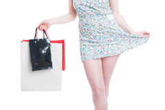 Stylish outfit concept with young girl doing shopping Royalty Free Stock Image