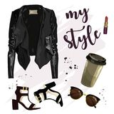 Stylish outfit with leather jacket, sunglasses, lipstick, shoes and coffee cup.  Royalty Free Stock Photography