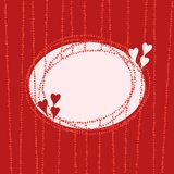 Stylish oval frame with hearts, red banner stock images