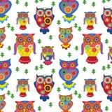 Stylish owls- seamless pattern Royalty Free Stock Image