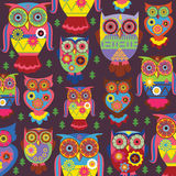 Stylish owls on a violet background Stock Images