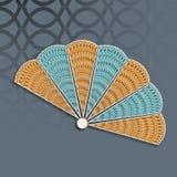 Stylish paper fan of China. Stock Image