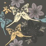 Stylish pattern with Butterfly's and flowers. Stylish Floral And Batterfly's Seamless pattern Stock Photos