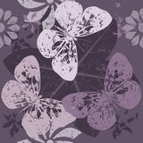Stylish Pattern with Butterfly silhouettes on blossom flowers Stock Image