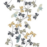 Stylish pattern with decorative flowers and butterflies Stock Photography