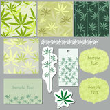 Stylish pattern. With green leaf on the green background Stock Image