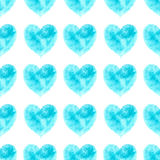 Stylish pattern with watercolor blue hearts Stock Photo