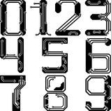 Stylish pcb electric wires numbers Royalty Free Stock Photo