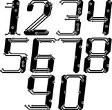 Stylish pcb electric wires numbers in italics Royalty Free Stock Photos
