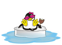 Stylish penguin girl with ice cream. Penguin girl in pink sunglasses lying on the ice and hold an bitten ice cream royalty free illustration