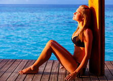 Stylish photo shoot on the beach stock image