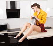 Stylish pin-up housewife Stock Photography