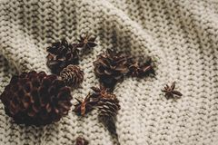 Stylish pine cones and anise on rustic knitted sweater background top view, space for text. atmospheric hygge winter. Image, seasonal greetings. merry christmas royalty free stock image